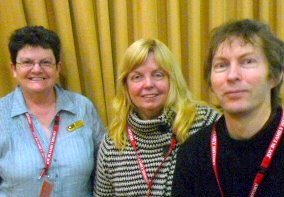 Jenny Higgins (National Library of Australia), Tim Hogan and Anne Burrows (State Library of Victoria) at the Mulwala Conference