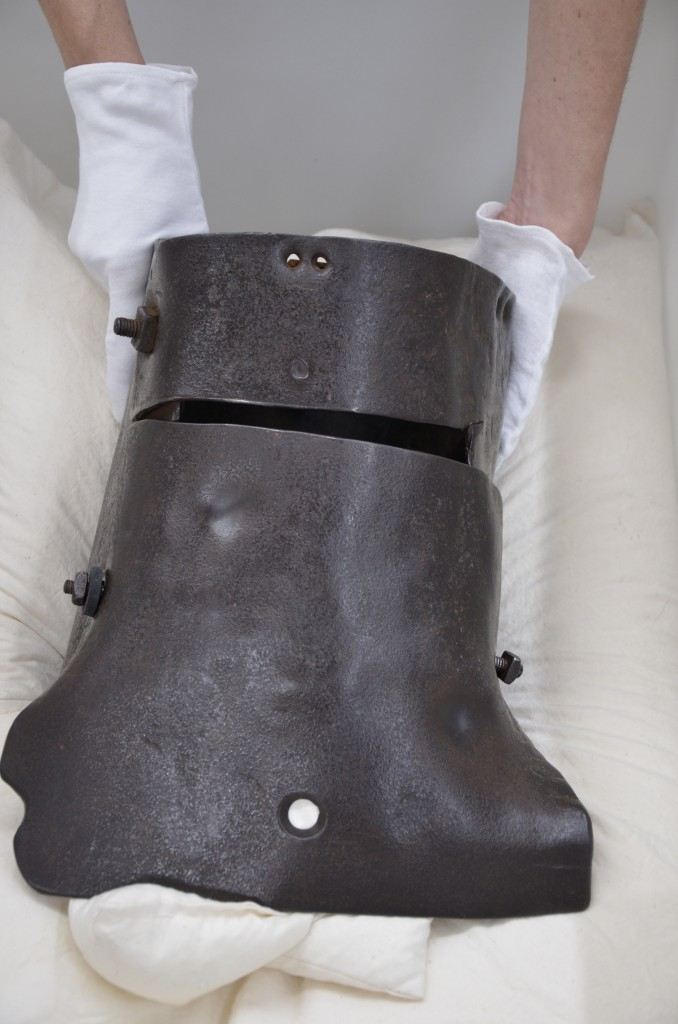 Ned Kelly's helmet is prepared for transport