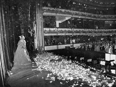 Joan Sutherland surrounded by flowers - Royal Opera House, Covent Garden stage.