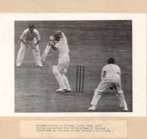 Bradman batting to Farnes, (12th June, 1938) Accession no: H9233