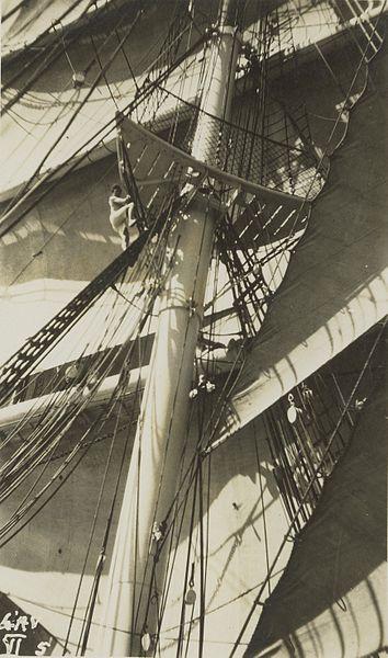 Percy Grainger climbing on sailing ship L'Avenir