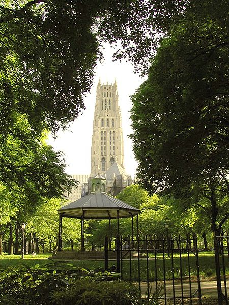 Looking south from the northern side of Sakura Park, a view of Riverside Church, New York City. Wikkimedia Commons ; Louis Waweru (c) 2007.