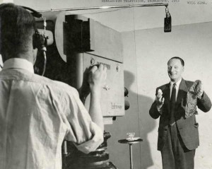 Will Alma before Herald-Sun television, Showgrounds, Melbourne, 1953