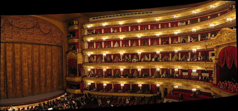 Inside the Bolshoi Theatre, Moscow.  Photographed by Theefer, 10 April 2005. (WikiMedia Commons).