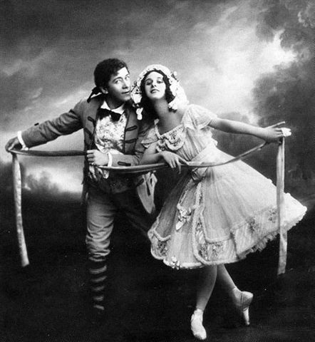 "Anna Pavlova: Lise, Nikolai Legat: Colas, dance ""La fille mal gardée"" in St. Petersburg, 1910.  Source: Wikimedia Commons."