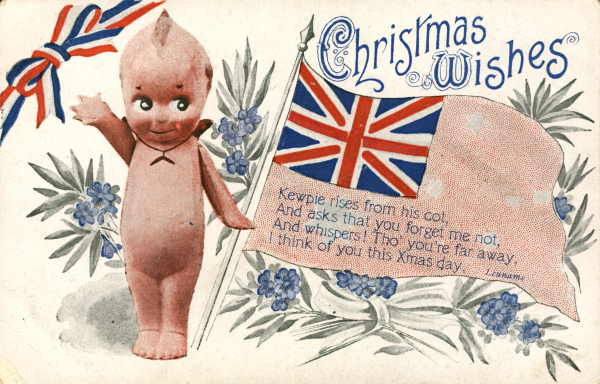 Christmas Wishes Kewpie rises from his cot (Eve Pryor Collection of Comic Postcards)