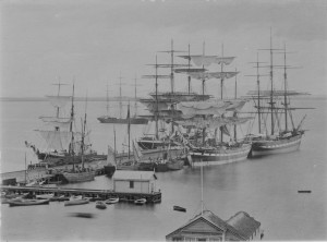 Sailing ships in the port of Geelong: Allan C. Green Collection