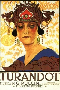 "Promotional poster for Giacomo Puccini's opera ""Turandot"", on 25 April 1926, by Musshi.  Courtesy Wikimedia Commons."