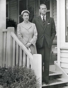 Queen Elizabeth and Duke of Edinburgh on the verandah of O'Shannessy Lodge Warburton