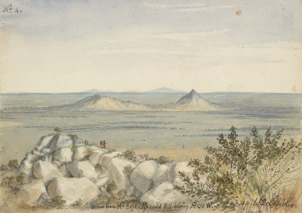 'View from Mt. Hope. Pyramid Hill bearing S. 30W. Sep. 1. 60'. Ludwig Becker. State Library of Victoria.