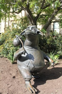 The Bunyip of Berkeley's Creek sculpture in position in its new home on the Library forecourt