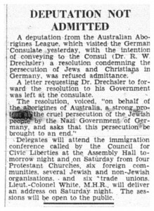 Newspaper article titled 'Deputation not admitted', which describes the protest, sourced from The Argus, 7 December 1938, p 3