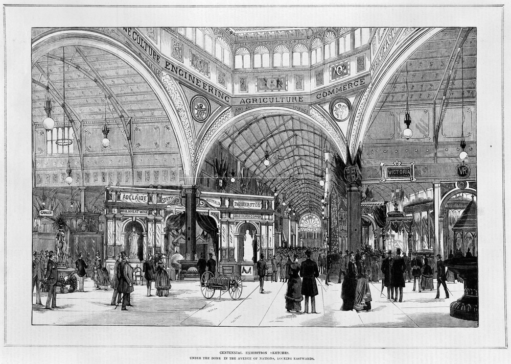 Engraving showing the interior of the Melbourne Exhibition Building looking towards the South Australian and Victorian displays of exhibits, with visitors walking between the exhibits
