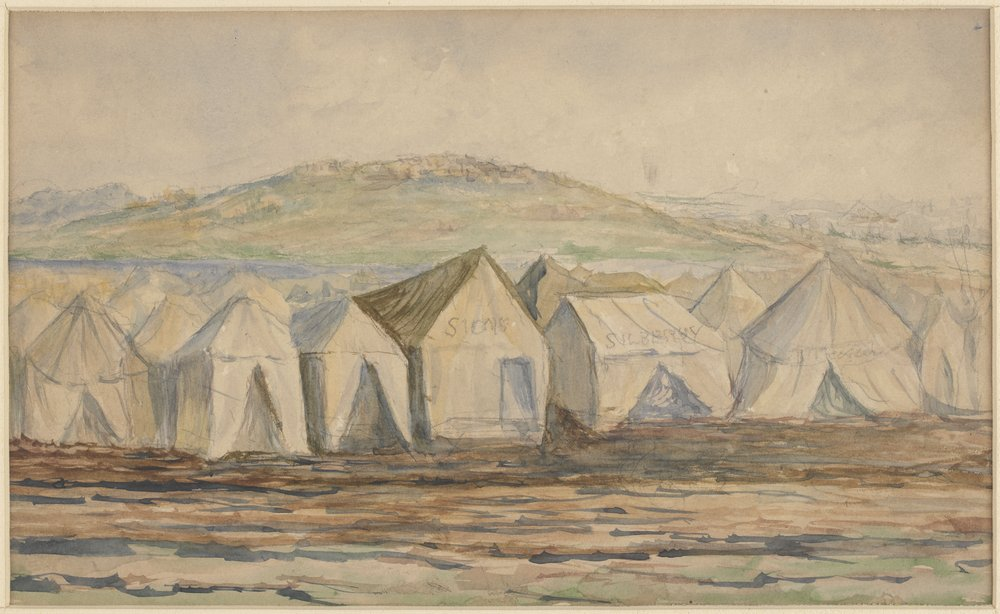Watercolour of the 'Canvas town' area of South Melbourne, 1850s, showing tents on the banks of the Yarra River