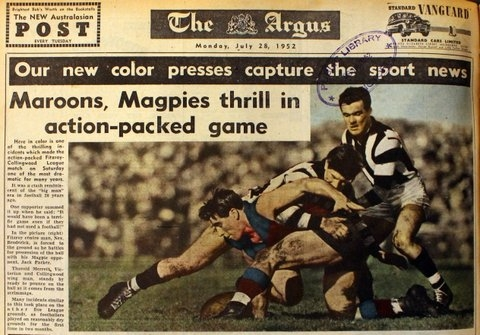 Back page of Melbourne's Argus newspaper, showing Australian Rules football match between Collingwood and Fitzroy