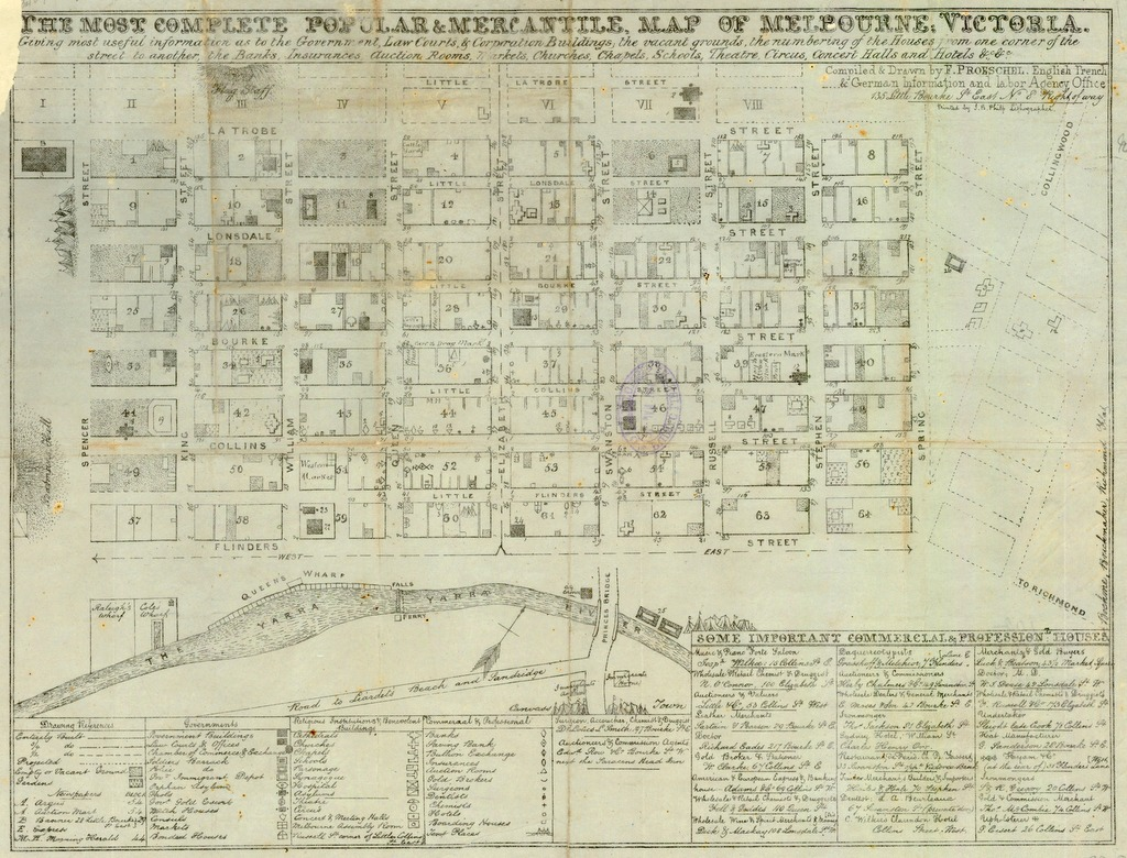 Hand drawn map of Melbourne's CBD from the early 1850s