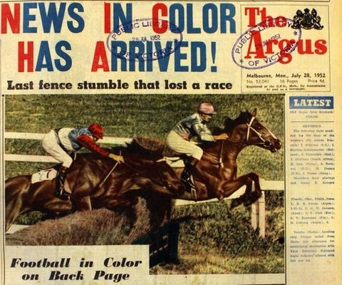 Front cover of Melbourne's Argus newspaper, printed in colour, showing horse jumps racing