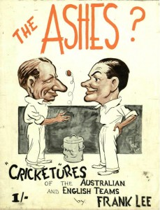 Cover of a pamphlet showing caricatures of Australian and English cricketers.