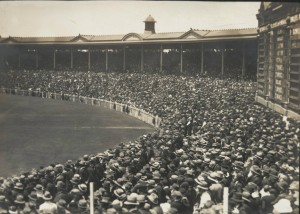 Photograph showing a packed crowd for an England versus Australia test match in Melbourne, 1925