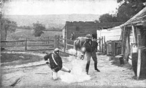 Ned Kelly shoots Fitzpatrick, taken from the pamphlet 'The story of the Kelly Gang.'