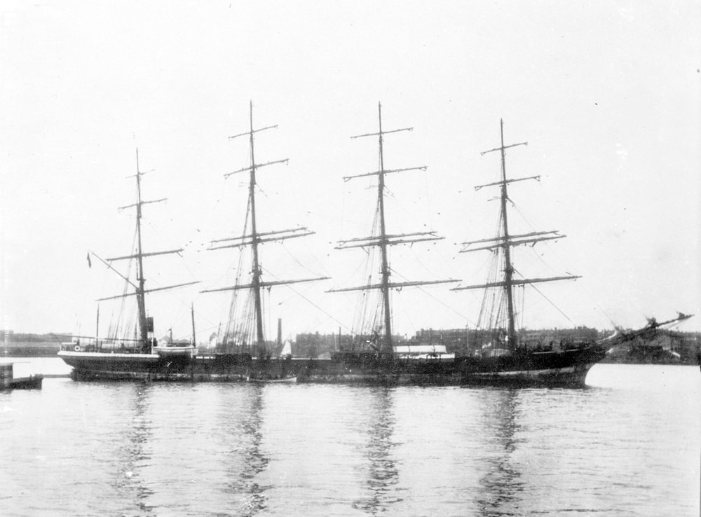 Photograph showing four-masted barque Trafalgar in harbour