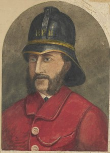 A watercolour of a Ballarat fireman from 1880.