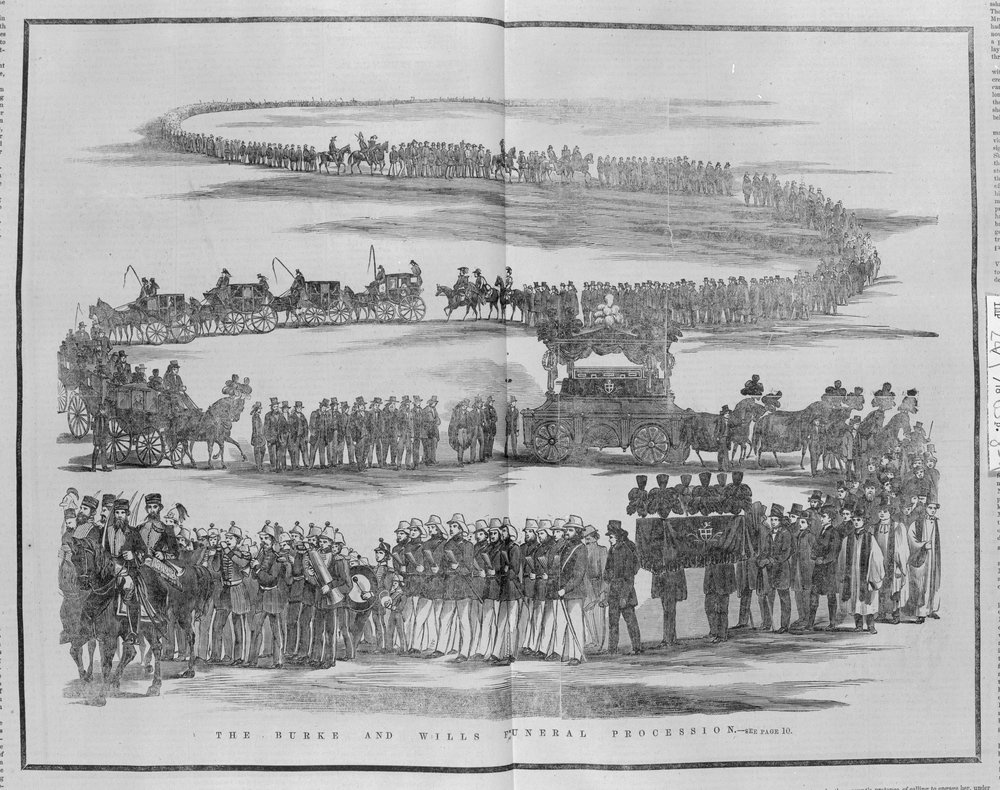 Wood engraving showing large funeral procession made up of military or policemen, clergymen, men in top hats and other people, horse drawn carriages, and decorated carts displaying coffins. The procession winds back and forth several times into the distance.