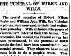 Snippet of article reporting Burke and Wills' state funeral, from the Argus newspaper