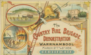 A colour certificate for the Warrnambool Country Fire Brigade from 1894.