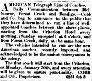 Cobb and Co's announcement in 'The Argus' of its coach line.