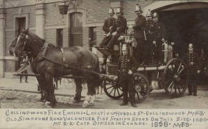 Photograph of horse-drawn fire engine and firemen outside the Collingwood Fire Station, Hoddle Street.