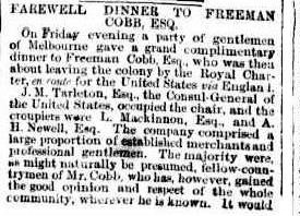 The article in 'The Argus' in 1856 notes the farewell dinner for Freeman Cobb.