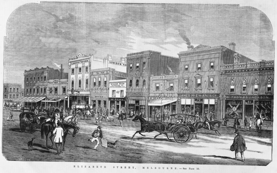 A newspaper wood engraving showing street and shopfronts in Elizabeth Street in 1864, including the businesses of William Dean, George Robertson, McBean, James McEwan & Co. and Thomas Jackson.