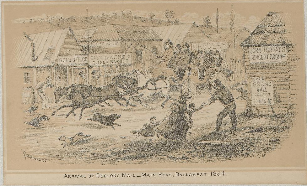 A lithograph from 1854 showing the main road in Ballarat.