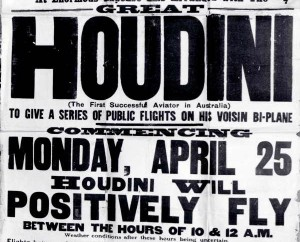A poster advertising Houdini's flight in Victoria.