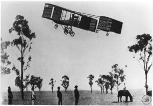 Houdini flies his biplane at Diggers Rest, Victoria in 1910