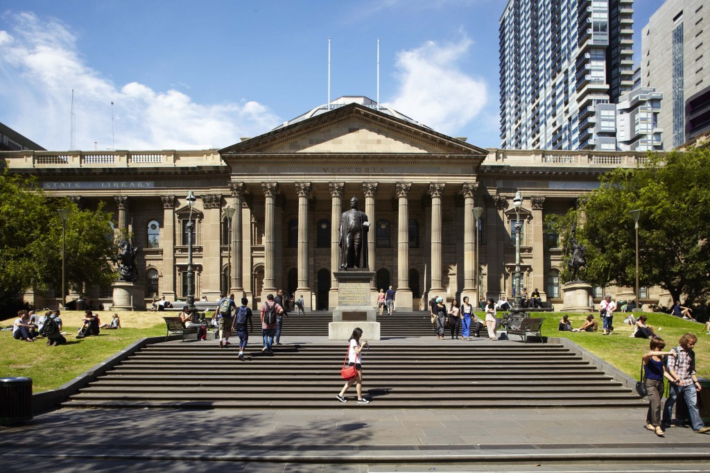 Front steps of the State Library of Victoria
