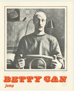 A poster for the play 'Betty can jump', performed at the Pram Factory in 1972.