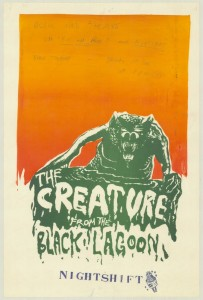 Poster advertising the play 'The Creature from the black lagoon', performed at the Pram Factory in 1972.