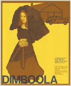 A handbill from 1973 advertising Dimboola, the play by Jack Hibberd.