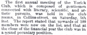 The Argus report of the Yorick Club's first AGM in 1869.