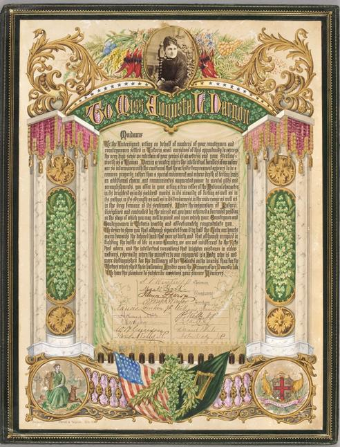 Address with decorative border in gilt and coloured inks of shamrocks, Australian native flowers, and the flags of Ireland and the United States; a portrait photograph of Augusta Dargon