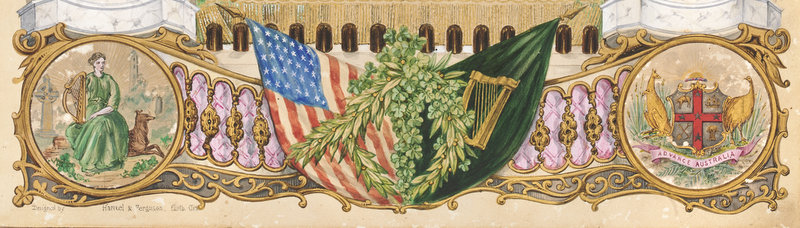 Watercolour showing adjacent American and Irish flags, Australian coat of arms, woman representing 'Ireland' in green dress holding golden harp