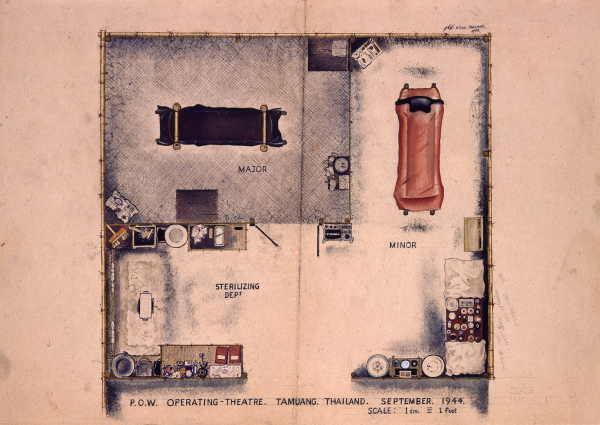 Watercolour showing interior layout of makeshift operating theatre, with partitions for major and minor surgery, instruments and medical supplies on tables.