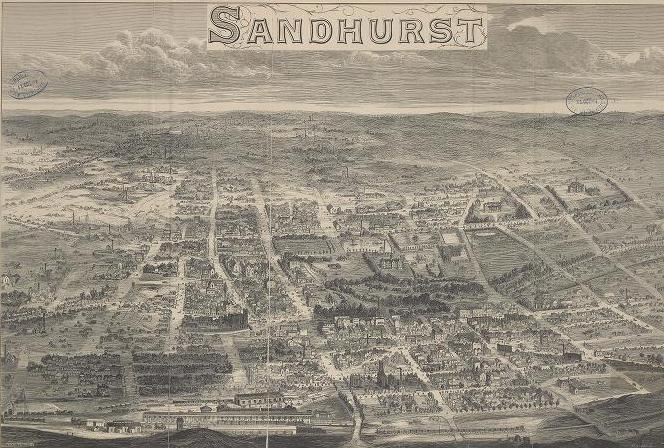 Wood engraving. Elevated view of the plan of Bendigo, showing all major streets and buildings.