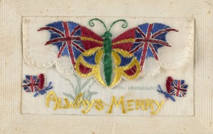 Verso of embroidered postcard with message from Corporal Tom O'Halloran to his wife in Castlemaine