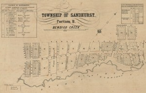 Map from the 1850s showing town allotments of Sandhurst.