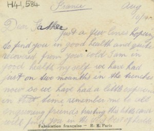 Verso of embroidered postcard with message from Tom to his father Mr J O'Halloran, Castlemaine.