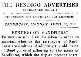 An article in the Bendigo Advertiser, advising of the poll to change the name of the city.