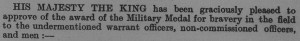 Listing in the October 1919 'Commonwealth of Australia Gazette', showing Corporal O' Halloran's military award.